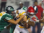 Torrance, CA 09/08/17 - Johnny Kim (South #51) and Christian Palomarez (South #72) tackle Hawthorne's Joseph Taylor III (Hawthorne #15) following a short gain.