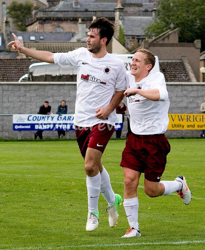 Deveronvale v Linlithgow Rose <br /> Tommy Coyne celebrates with Andy Shirra after Coyne gave Linlithgow a 2-0 lead