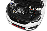 Car stock 2018 Peugeot 308 GTi Base 5 Door Hatchback engine high angle detail view