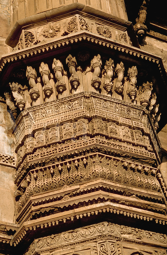 The ornately carved exterior of the Jami Masjid mosque. Ahmedabad, India.