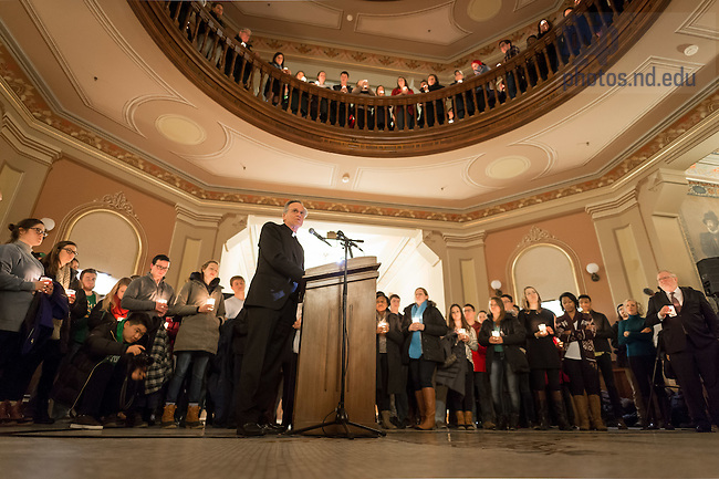 "January 16, 2017; Notre Dame President Rev. John I. Jenkins, C.S.C. speaks at a candlelight prayer service in the Main Building in observation of Martin Luther King Jr. Day. The event also marked the beginning of ""Walk the Walk"" week, a series of events an observances to celebrate and reflect on diversity and inclusiveness. (Photo by Matt Cashore/University of Notre Dame)"