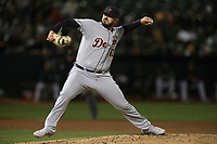 OAKLAND, CA - SEPTEMBER 6:  Nick Ramirez #63 of the Detroit Tigers pitches against the Oakland Athletics during the game at the Oakland Coliseum on Friday, September 6, 2019 in Oakland, California. (Photo by Brad Mangin)