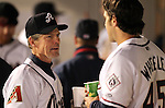 Reno Aces Manager Brett Butler talks with Ryan Wheeler during a triple-A minor league baseball game between the Reno Aces and the Colorado Springs Sky Sox on Thursday, April 5, 2012, in Reno, Nev. The Reno Aces won the season-opener 5-2..Photo by Cathleen Allison