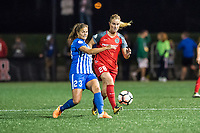 Boston, MA - Sunday September 10, 2017: Katie Stengel and Amandine Henry during a regular season National Women's Soccer League (NWSL) match between the Boston Breakers and Portland Thorns FC at Jordan Field.