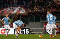 Calcio, Serie A: Lazio vs Milan. Roma, stadio Olimpico, 1 novembre 2015.<br /> Lazio players react after AC Milan scored for the third time, during the Italian Serie A football match between Lazio and Milan at Rome's Olympic stadium, 1 November 2015.<br /> UPDATE IMAGES PRESS/Riccardo De Luca