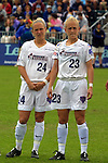 Twins Jacqui (24) and Skylar (23) Little at SAS Stadium in Cary, North Carolina on 4/5/03 during player introductions before a game between the Carolina Courage and Washington Freedom. The Washington Freedom won the game 2-1.