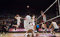STANFORD, CA - January 5, 2019: Eric Beatty, Jaylen Jasper, Paul Bischoff at Maples Pavilion. The Stanford Cardinal defeated UC Santa Cruz 25-11, 25-17, 25-15.