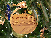 "The 2018 White House Christmas decorations, with the theme ""American Treasures"" which were personally selected by first lady Melania Trump, are previewed for the press in Washington, DC on Monday, November 26, 2018. This is a close-up of an ornament on one of the trees in the East Room showing scenes from the Southeast US including President Thomas Jefferson's home, Monticello in Virginia and a flamingo from Florida.   <br /> Credit: Ron Sachs / CNP"