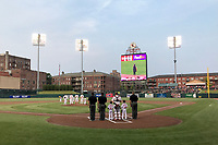 General view of the Memphis Redbirds national anthem before a game against the Round Rock Express on April 28, 2017 at AutoZone Park in Memphis, Tennessee.  Memphis defeated Round Rock 9-1.  (Mike Janes/Four Seam Images)