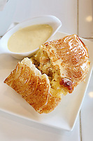 Bread and butter pudding at The Bakery Cafe on the popular Tiong Bahru Cafe street in Singapore.