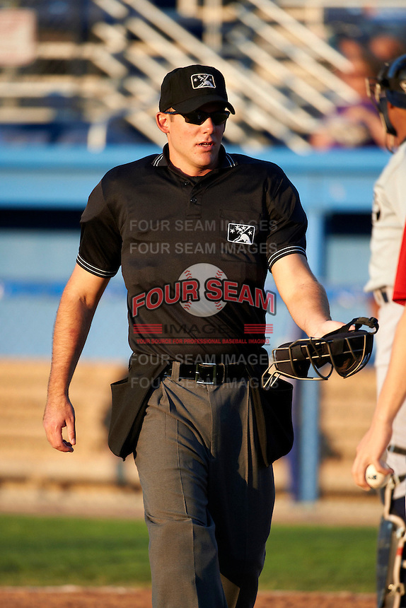 Umpire Ben Levin during a NY-Penn League game between the Staten Island Yankees and Batavia Muckdogs at Dwyer Stadium on July 30, 2012 in Batavia, New York.  Batavia defeated Staten Island 5-4 in 11 innings.  (Mike Janes/Four Seam Images)