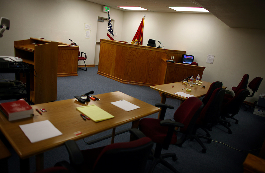 The military courtroom at Camp Pendleton, CA where Marines accused of crimes in 2005 killing of civilians in Haditha, Iraq are undergoing their Article 32 hearings in advance of possible courts martial on charges of murder and dereliction of duty.
