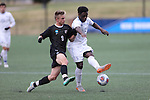 SALEM, VA - DECEMBER 3: Jacob Witte (9) of Calvin College and Stephen McMillian (5) of Tufts University battle for the ballduring theDivision III Men's Soccer Championship held at Kerr Stadium on December 3, 2016 in Salem, Virginia. Tufts defeated Calvin 1-0 for the national title. (Photo by Kelsey Grant/NCAA Photos)