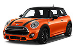 2018 MINI Cooper JCW Door Hatchback Angular Front stock photos of front three quarter view
