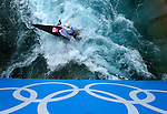 LONDON, ENGLAND - JULY 29:   Stefano Cipressi of Italy competes in the Men's Kayak Slalom Prelims during Day 3 of the London 2012 Olympic Games on July 29, 2012 at the Lee Valley White Water Center Center in Hertfordshire, England. (Photo by Donald Miralle)