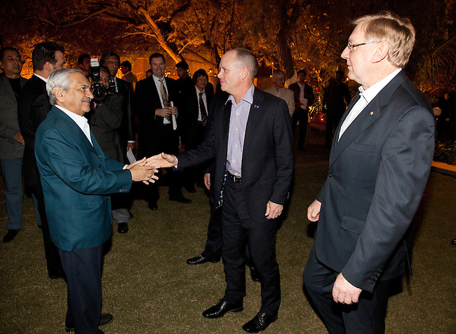 2 December 2012, Mundra, Gujurat, INDIA:  Queensland Premier Campbell Newman and Federal Minister for Resources and Energy, Martin Ferguson meet guests at  Indian businessman Gautam Adani's home on a visit to Gujurat. Guests were treated to a performance of Queensland orchestra act Deep Blue at a private concert at the home of Mr. Adani. Deep Blue are in India as part of Oz Fest.   Picture by Graham Couch/DFAT