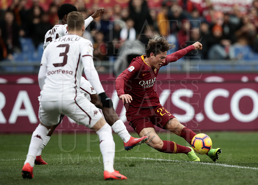 Football, Serie A: AS Roma - Torino, Olympic stadium, Rome, January 19, 2019. <br /> Roma's Nicolò Zaniolo (r) scores during the Italian Serie A football match between AS Roma and Torino at Olympic stadium in Rome, on January 19, 2019.<br /> UPDATE IMAGES PRESS/Isabella Bonotto