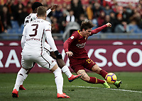 Football, Serie A: AS Roma - Torino, Olympic stadium, Rome, January 19, 2019. <br /> Roma's Nicol&ograve; Zaniolo (r) scores during the Italian Serie A football match between AS Roma and Torino at Olympic stadium in Rome, on January 19, 2019.<br /> UPDATE IMAGES PRESS/Isabella Bonotto