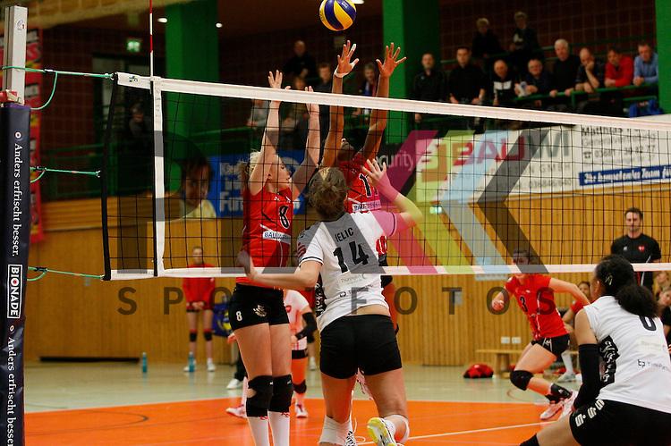 v. l. Koepenicks Ann-Marie Knauf (Nr. 8) , Thueringens Nikolina Jelic (Nr. 14) , Koepenicks Erica Wilson (Nr. 11) <br /> <br /> 14.02.15 Volleyball, 1. Bundesliga, Frauen, Saison 2014/15, VolleyStars Thueringen- KSC Koepenick Berlin<br /> <br /> Foto &copy; PIX *** Foto ist honorarpflichtig! *** Auf Anfrage in hoeherer Qualitaet/Aufloesung. Belegexemplar erbeten. Veroeffentlichung ausschliesslich fuer journalistisch-publizistische Zwecke. For editorial use only.