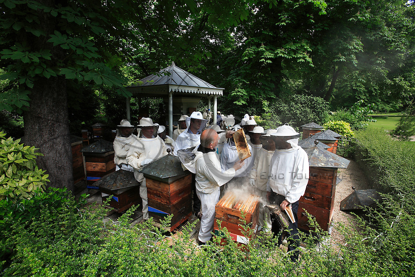 In Paris, Luxembourg garden, beekeepers around a hive.