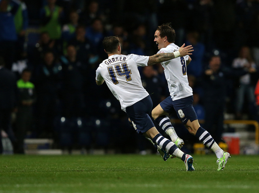 Preston North End's Neil Kilkenny (right) celebrates scoring his sides first goal with team-mate Joe Garner<br /> <br /> Photographer Stephen White/CameraSport<br /> <br /> Football - The Football League Sky Bet Championship - Preston North End v Bristol City - Tuesday 15th September 2015 - Deepdale - Preston<br /> <br /> &copy; CameraSport - 43 Linden Ave. Countesthorpe. Leicester. England. LE8 5PG - Tel: +44 (0) 116 277 4147 - admin@camerasport.com - www.camerasport.com