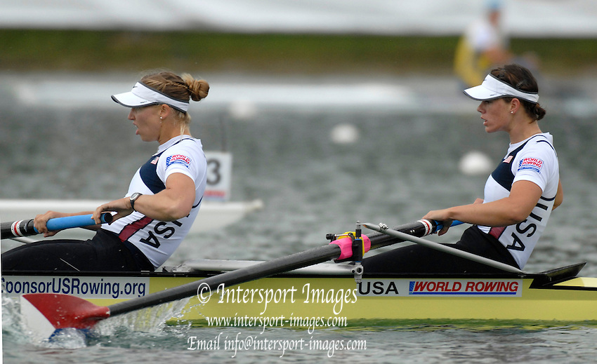 Munich, GERMANY, 01.09.2007,  B Final, USA W2-, Bow Portia McGEE and Anna MICKELSON, at the 2007 World Rowing Championships, taking place on the  Munich Olympic Regatta Course, Bavaria. [Mandatory Credit. Peter Spurrier/Intersport Images]. , Rowing Course, Olympic Regatta Rowing Course, Munich, GERMANY