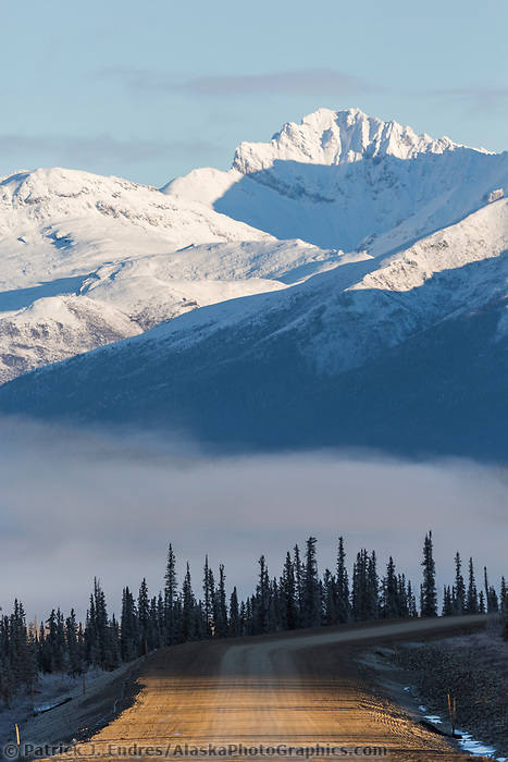 James dalton highway cuts through the mountain regions of the Brooks Range, Alaska.
