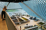 "Seattle Central Library, LMN Architects, Rem Koolhaas, new architecture, ""living room"", main floor from above, Washington State, Pacific Northwest, USA,."
