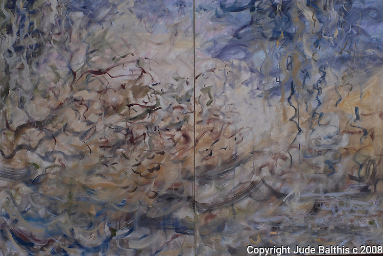 "Oil painting on canvas. Diptych. 40"" x 60"". Before the Fire by Jude Balthis."