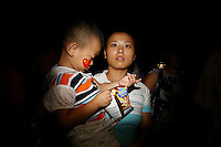 CHINA. Beijing. A mother and her child on Tiananmen Square during the Beijing 2008 Summer Olympics. 2008