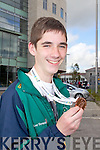 BRINGING HOME THE SILVERWARE: Arriving home to Tralee on Monday evening after their success trip to the International Children's Games in Lanarkshire, Scotland Ryan O'Sullivan, Farranfore who won a bronze in judo.