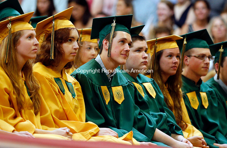 Waterbury, CT- 31 May 2015-053115CM14- Holy Cross High School graduates during commencement exercises at Holy Cross High School in Waterbury on Sunday.  Christopher Massa Republican-American