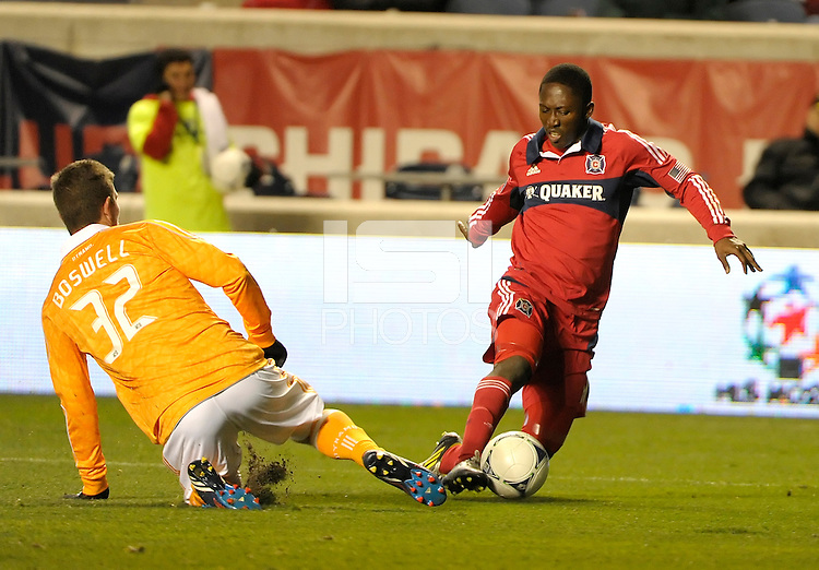 The Houston Dynamo defeated the Chicago Fire 2-1 in the Eastern Conference play-in game for the MLS Playoffs at Toyota Park in Bridgeview, IL on October 31, 2012.