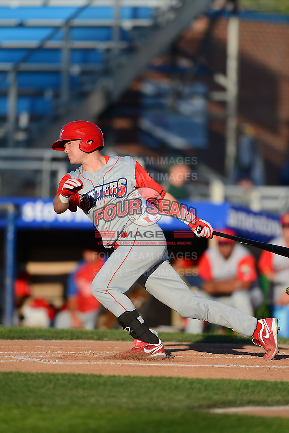 Williamsport Crosscutters catcher Andrew Knapp #13 during a game against the Jamestown Jammers on June 20, 2013 at Russell Diethrick Park in Jamestown, New York.  Jamestown defeated Williamsport 12-6.  (Mike Janes/Four Seam Images)