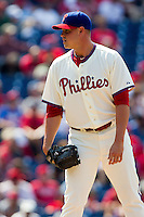 Philadelphia Phillies pitcher Jeremy Horst #47 looks in for the sign during the Major League Baseball game against the Pittsburgh Pirates on June 28, 2012 at Citizens Bank Park in Philadelphia, Pennsylvania. The Pirates defeated the Phillies 5-4. (Andrew Woolley/Four Seam Images).