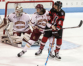 Megan Keller (BC - 4), Shelby Herrington (NU - 6) - The Boston College Eagles defeated the Northeastern University Huskies 2-1 to win the Beanpot on Monday, February 7, 2017, at Matthews Arena in Boston, Massachusetts.