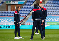 Bolton Wanderers' Craig Noone, Mark Beevers and Will Buckley inspecting the pitch before the match<br /> <br /> Photographer Andrew Kearns/CameraSport<br /> <br /> The EFL Sky Bet Championship - Wigan Athletic v Bolton Wanderers - Saturday 16th March 2019 - DW Stadium - Wigan<br /> <br /> World Copyright &copy; 2019 CameraSport. All rights reserved. 43 Linden Ave. Countesthorpe. Leicester. England. LE8 5PG - Tel: +44 (0) 116 277 4147 - admin@camerasport.com - www.camerasport.com