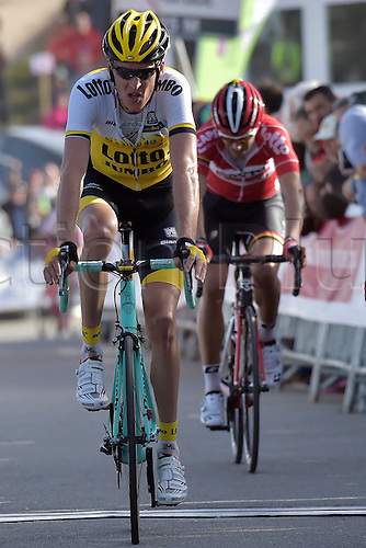 21.02.2016. Almodovor, Algarve, Portugal.  GESINK Robert (NED)  of TEAM LOTTO NL - JUMBO crosses the finish line exhausted during stage 5 of the 42nd Tour of Algarve cycling race with start in Almodovar and finish in Malhao (Loule) on February 21, 2016 in Malhao, Portugal.