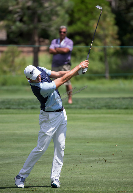 Martin Kaymer hits an approach shot on the 15th fairway during the Barracuda Championship PGA golf tournament at Montrêux Golf and Country Club in Reno, Nevada on Sunday, July 28, 2019.