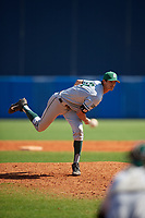 Dartmouth Big Green relief pitcher Zac Bygum (12) during a game against the Bradley Braves on March 21, 2019 at Chain of Lakes Stadium in Winter Haven, Florida.  Bradley defeated Dartmouth 6-3.  (Mike Janes/Four Seam Images)