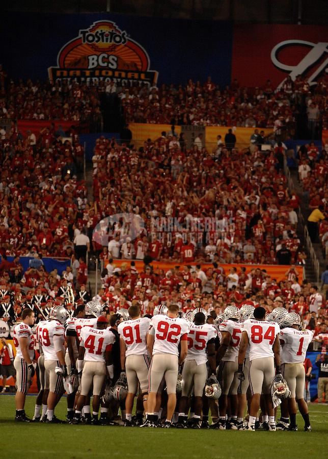 Jan 8, 2007; Glendale, AZ, USA; Ohio State Buckeyes huddle in the first half of the BCS National Championship game against the Florida Gators at the University of Phoenix Stadium. Mandatory Credit: Mark J. Rebilas