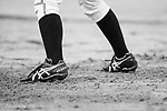 Japanese player moves her feet during the BFA Women's Baseball Asian Cup match between Pakistan and Japan at Sai Tso Wan Recreation Ground on September 4, 2017 in Hong Kong. Photo by Marcio Rodrigo Machado / Power Sport Images<br /> <br /> (EDITOR NOTE... Black and White Changed on Lightroom)