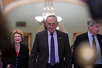 Senate Minority Leader Chuck Schumer, Democrat of New York, walks to the podium for a press conference following a Democratic Caucus lunch on Capitol Hill in Washington, D.C. on March 12, 2019. <br /> CAP/MPI/RS<br /> &copy;RS/MPI/Capital Pictures