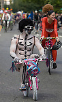 Brightly painted nude bicycle riders delight the crowd during the 21st  Annual Fremont Summer Solstice Parade in Seattle on June 21, 2009.  The parade was held Saturday, bringing out painted and naked bicyclists, bands, belly dancers and floats. (Jim Bryant Photo © 2009)21st Annual Summer Solstice Parade in Seattle