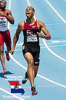 Florida State junior and Raytown South HS grad Maurice Mitchell celebrates after blowing away the field in the 200 meter final at the 2011 NCAA Division I Outdoor Track & Field National Championships in Des Moines Iowa. It was Mitchell's first individual title and second overall after helping the Seminoles claim the 4x100 title about 40 minutes earlier.