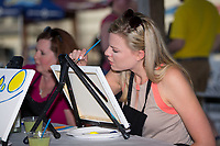 """The Kannapolis Intimidators held a """"Wine and Canvas"""" night at Kannapolis Intimidators Stadium during the South Atlantic League game against the Augusta GreenJackets on May 3, 2017 in Kannapolis, North Carolina.  (Brian Westerholt/Four Seam Images)"""