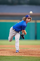 Midland RockHounds starting pitcher Grant Holmes (16) delivers a pitch during a game against the Arkansas Travelers on May 25, 2017 at Dickey-Stephens Park in Little Rock, Arkansas.  Midland defeated Arkansas 8-1.  (Mike Janes/Four Seam Images)