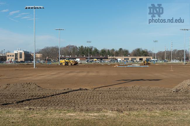 March 21, 2017; Ricci Field construction.  (Photo by Barbara Johnston/University of Notre Dame)
