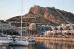 View of Port and Santa Barbara Castle in Alicante, Spain