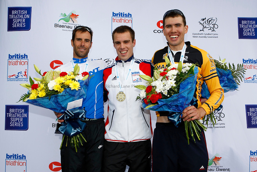Photo: Richard Lane/Richard Lane Photography. British Triathlon Super Series, Parc Bryn Bach. 18/07/2009. Medalists of the Men's Elite Race, Marc Jenkins with bronze, Aaron Harris with gold and Philip Wolfe with silver..
